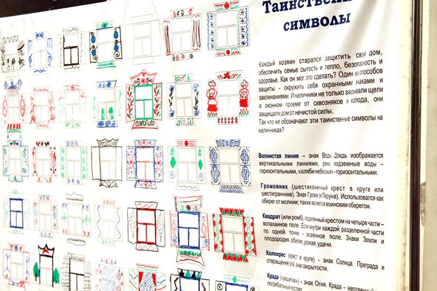 Рядом с миниатюрными картинками наличников информация о значении сакральных символов