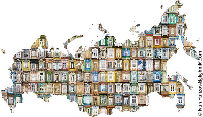 Карта России вся состоящая из оконных наличников