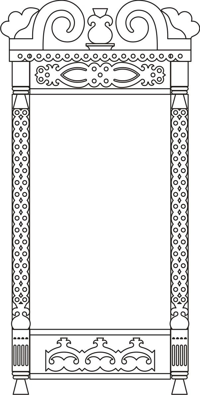 Раскраска для детей-контур деревянного оконного наличника.  Чертеж резного деревянного наличника - 17.