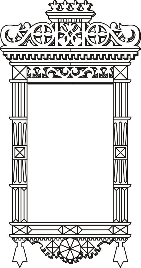 Раскраска для детей-контур деревянного оконного наличника.  Чертеж резного деревянного наличника - 15.