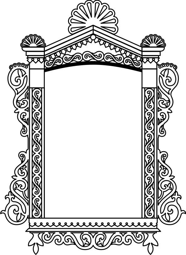 Раскраска для детей-контур деревянного оконного наличника.  Чертеж резного деревянного наличника - 14.