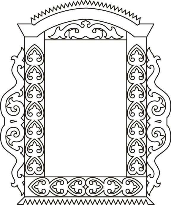 Раскраска для детей-контур деревянного оконного наличника.  Чертеж резного деревянного наличника - 11.
