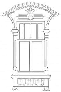 чертеж наличника из раскраски с сайта Nalichniki.com
