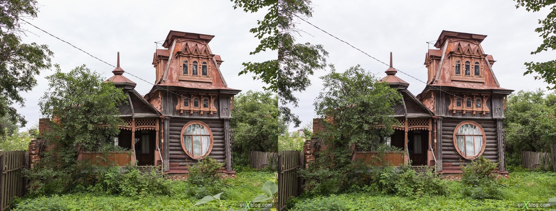 Стереоизображение деревянного дома в стиле модерн