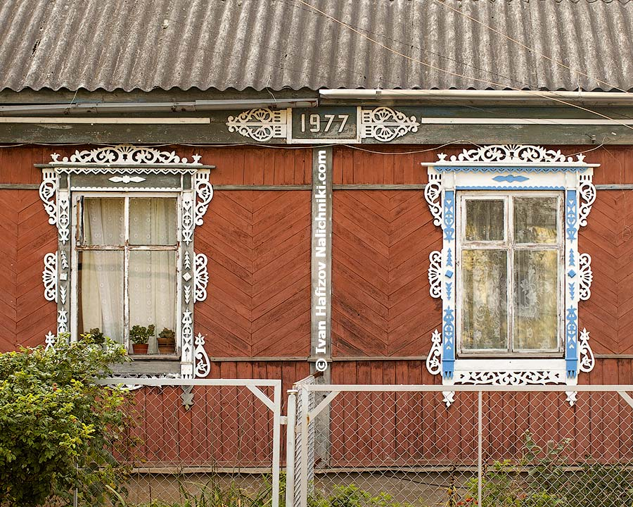 Ornate wooden frames (Nalichniki) in Maloyaroslavets of Kaluga region
