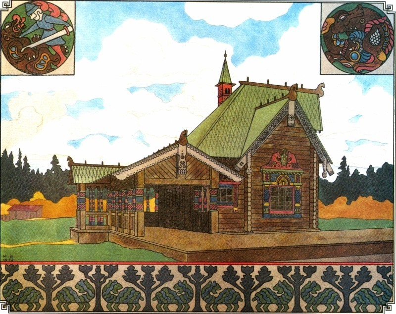 Izbushka with Nalichniki (russian wooden house with ornate window frames)