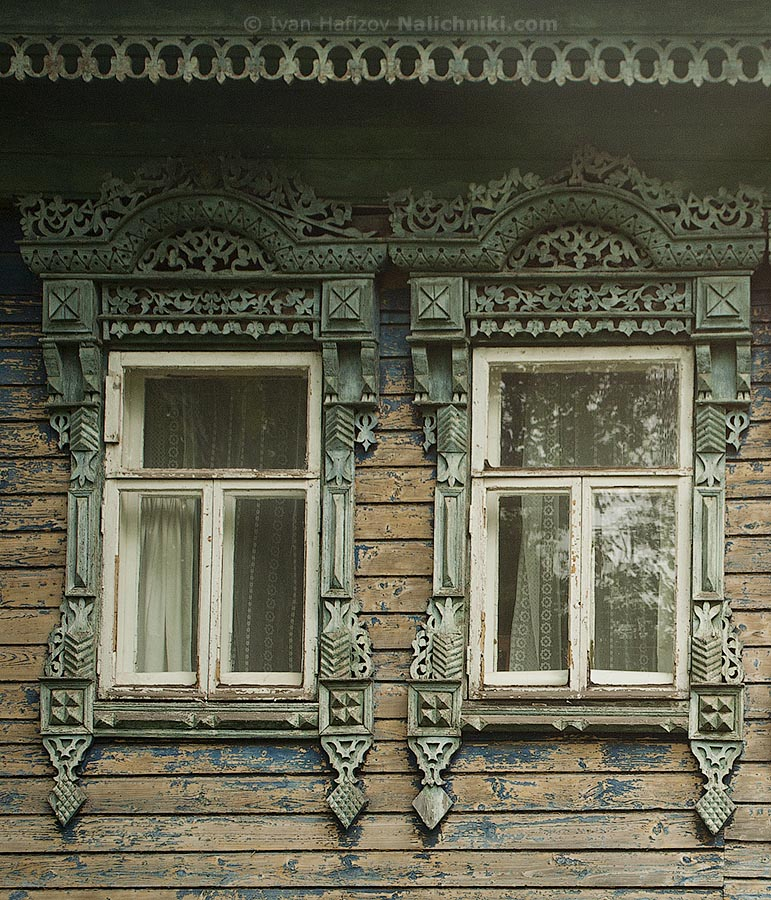 Two ornated wooden windows frames delicate work from Borisoglebsk city