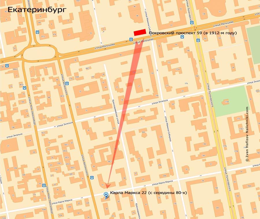 Карта переноса особняка Семеновой в Екатеринбурге