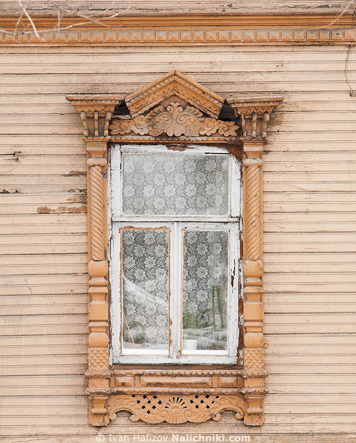 Curved wooden frame in Nizhny Novgorod city