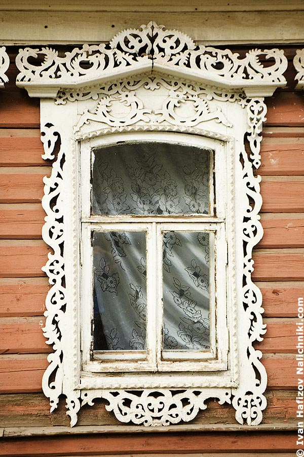 Old Russian window frame with dragons.