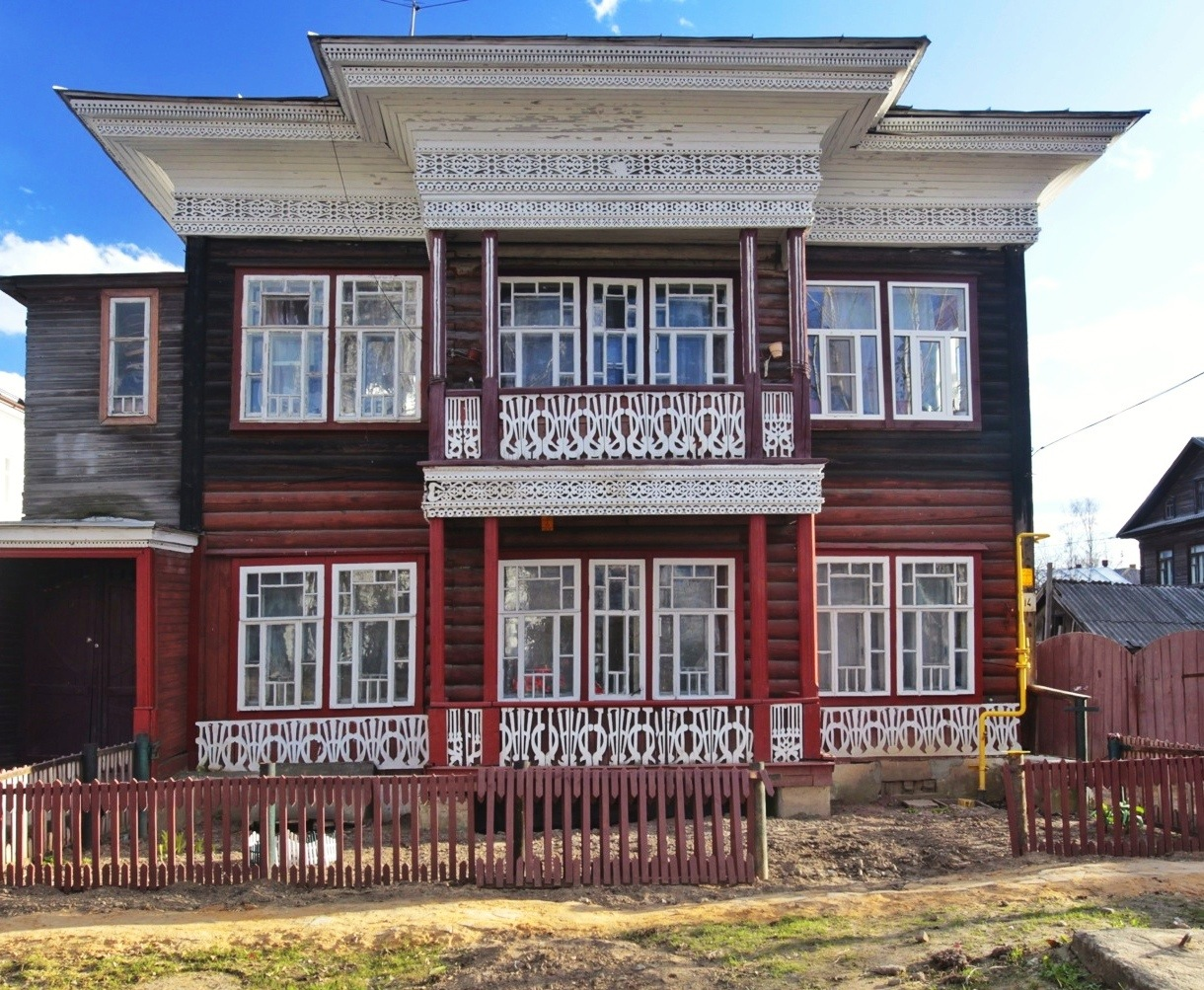 A carved wooden house in Vologda city