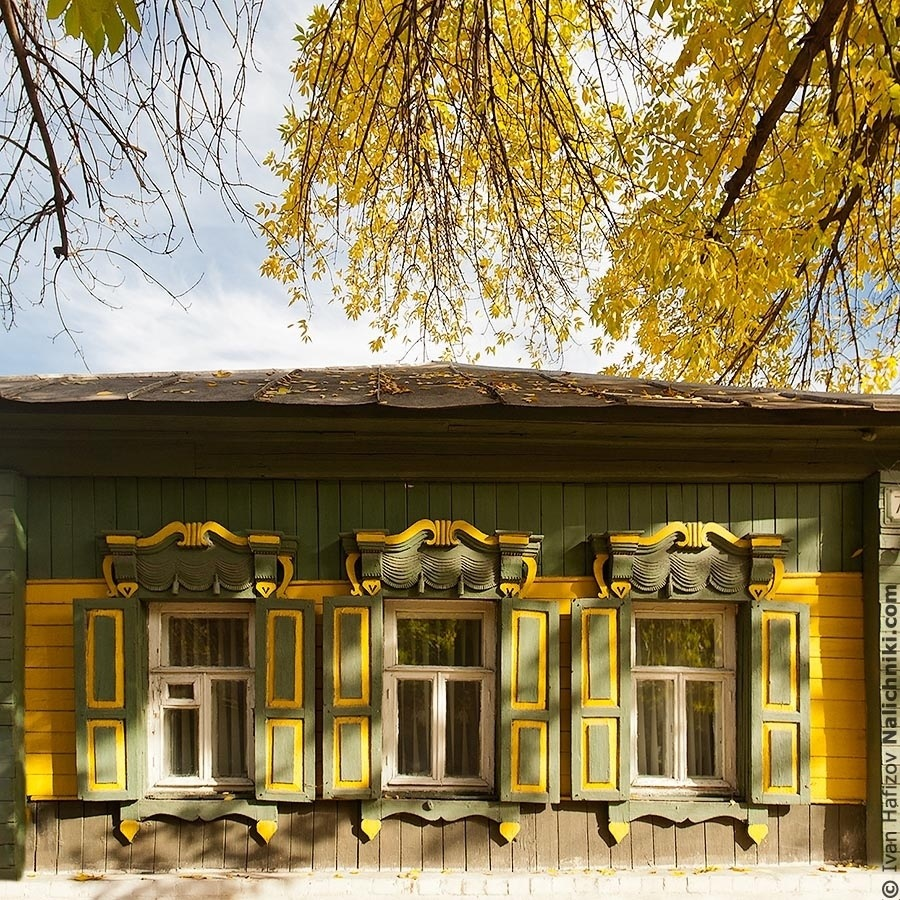 Three beutiful windows with shutters in Balashov city