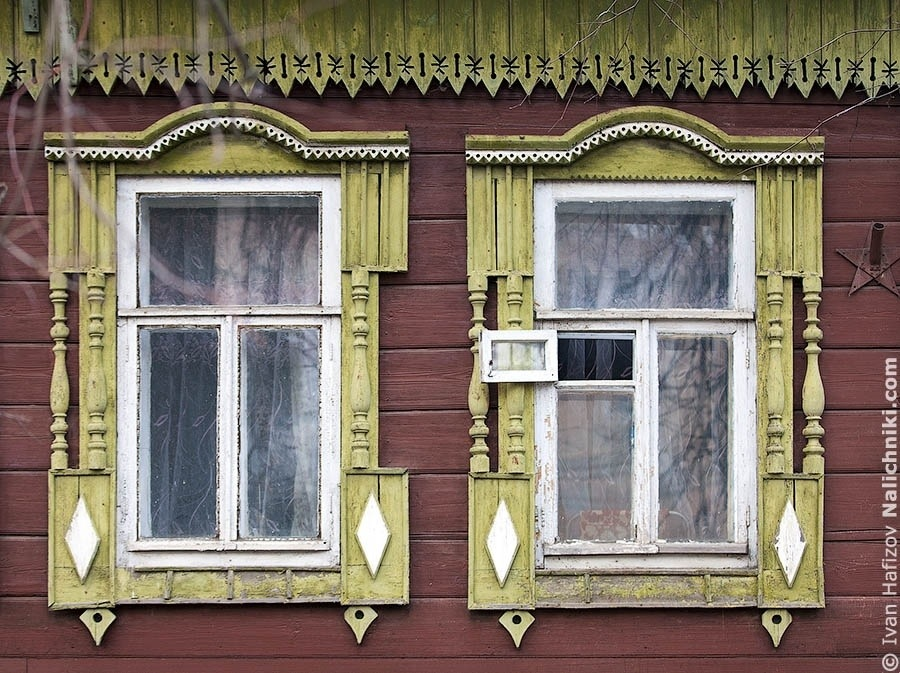 Wooden window frames (nalichniki) in Kimry city, Tver area