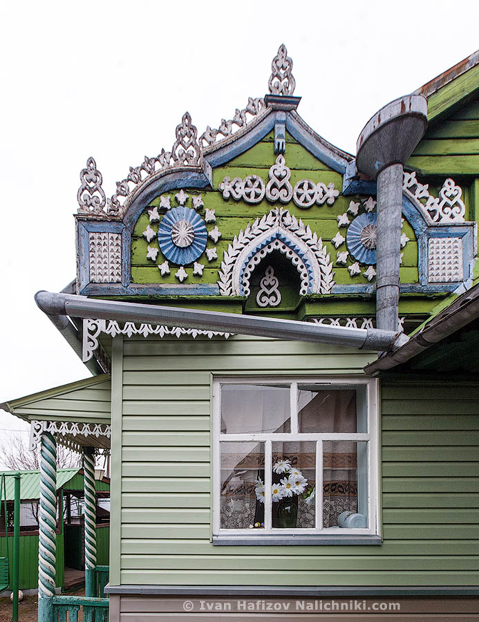 Fretwork in decoration wooden house in Gavrilov Yam city