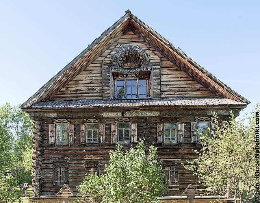 Wooden house at wooden architecture museum in Kostroma