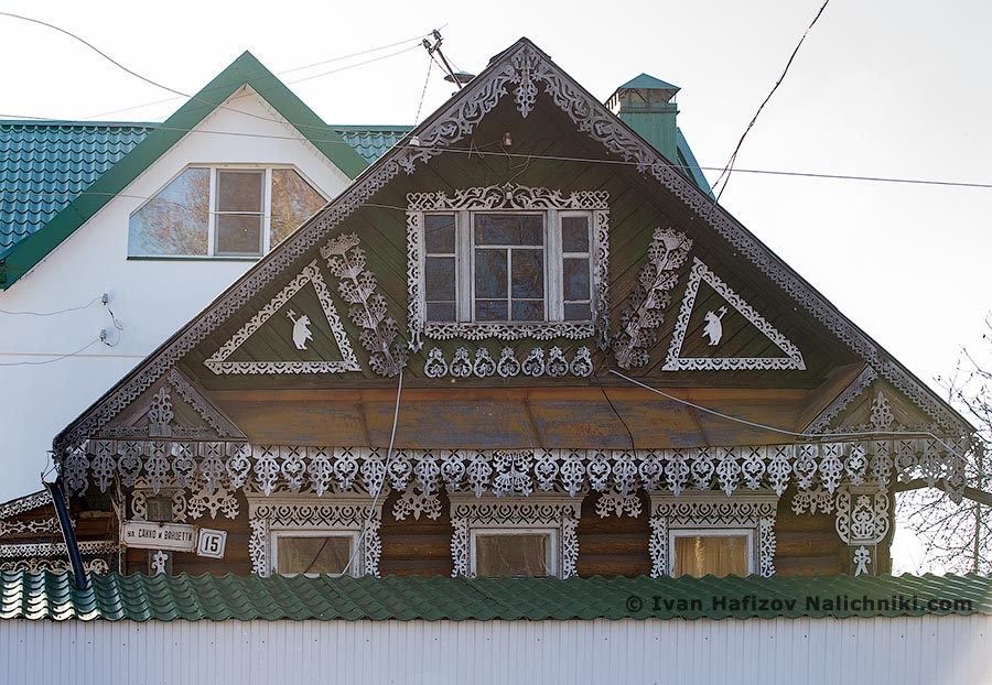 house decorated with laced carving in Rybinsk