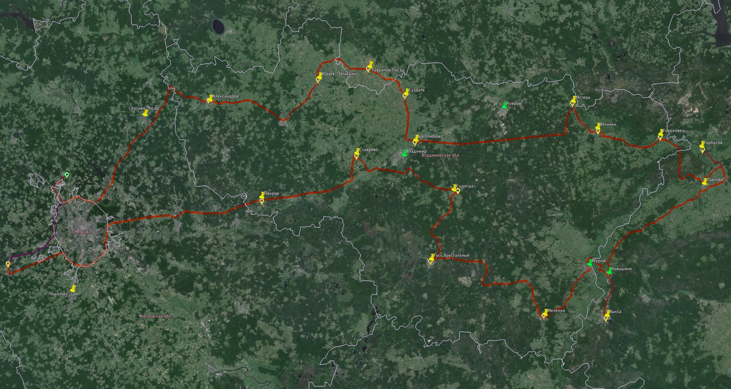 Карта маршрута по Владимирской области