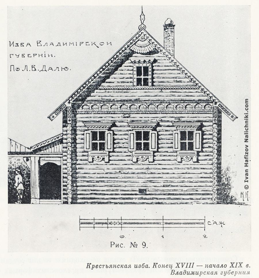 Чертеж старинного деревянного дома
