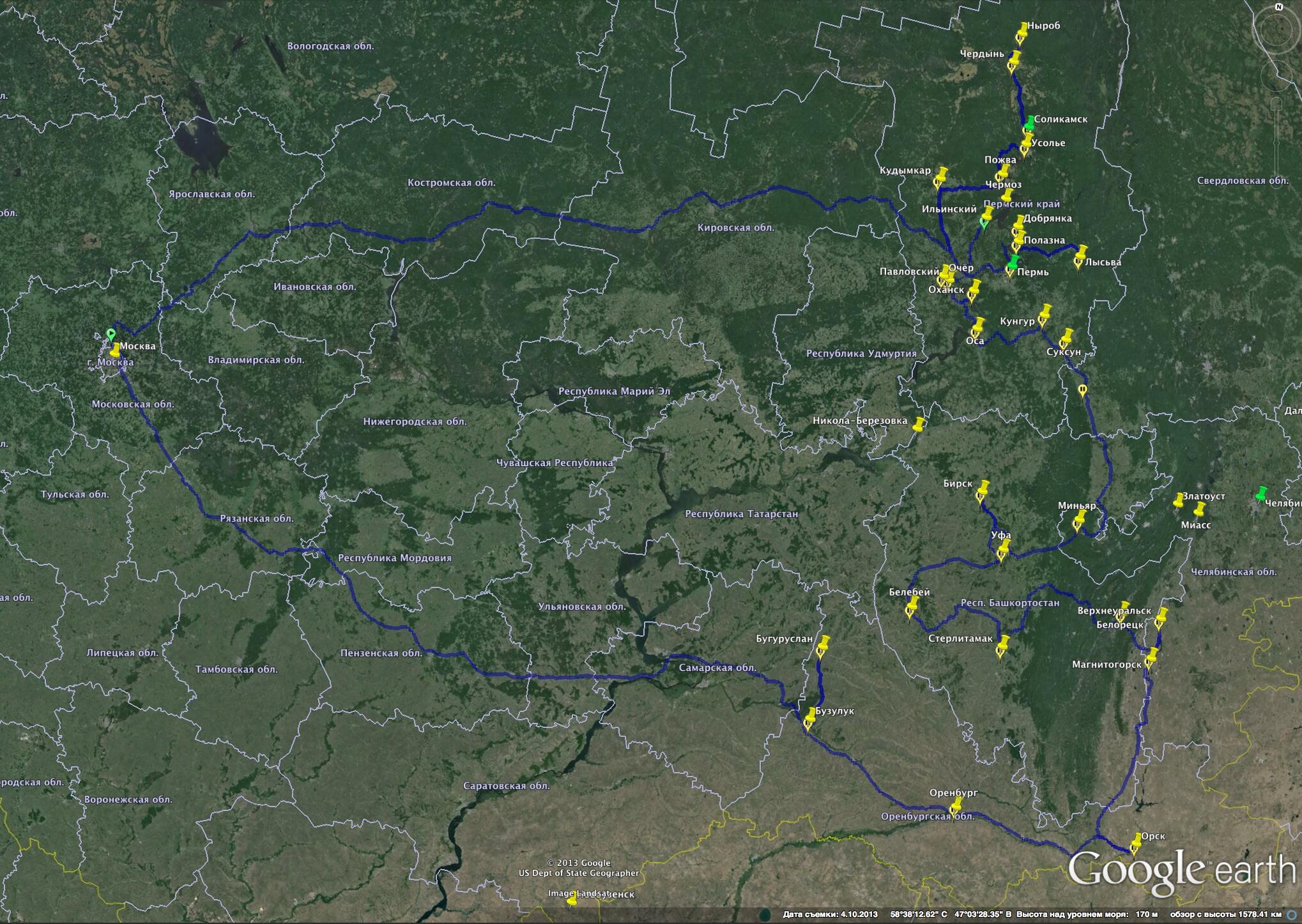 Маршрут «Пермской» экспедиции за наличниками, включая Оренбург, Орск, Верхнеуральск и Белорецк