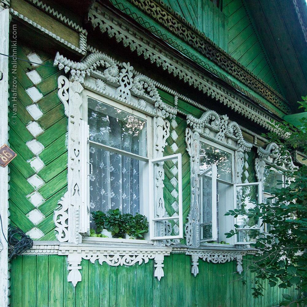 Чудесные резные наличники в Кулебаках Нижегородской области