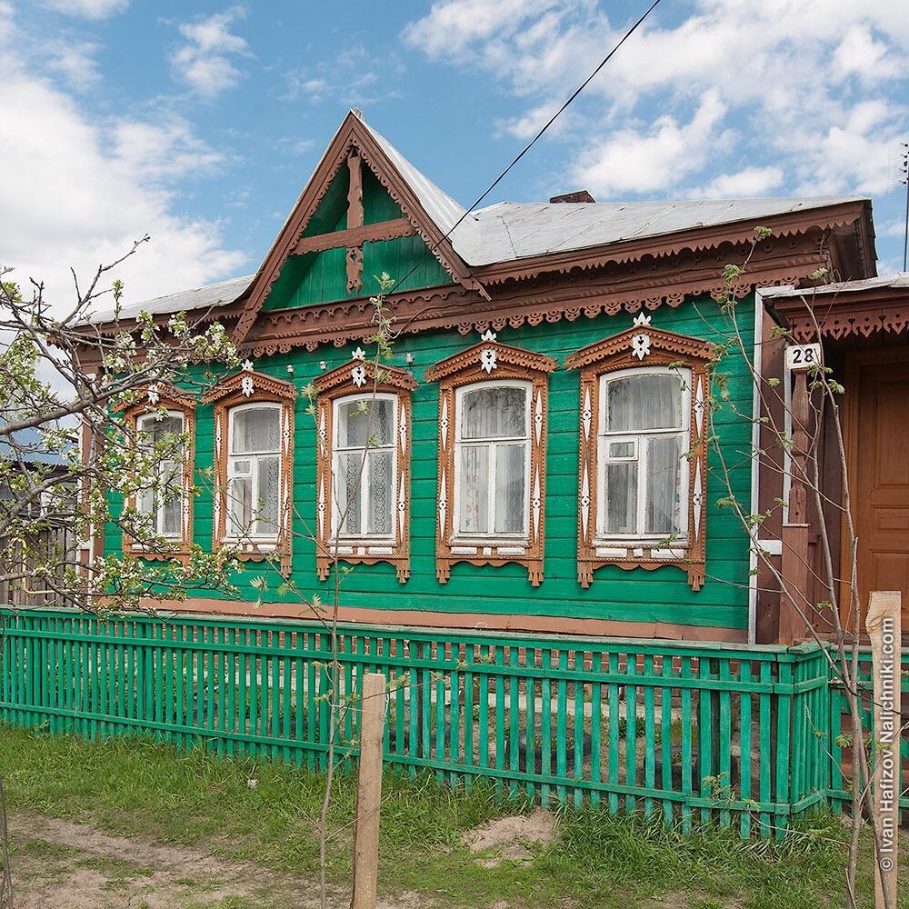 Украшенный резьбой дом из дерева. Спасск-Рязанский